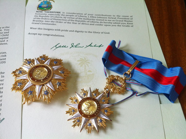 The Global Image award and the Officer grade of the Star of Africa award, which included an invitation to the Presidential Independence Day Celebration, and the Grand Commander grade of the Order of the Star of Africa medal.