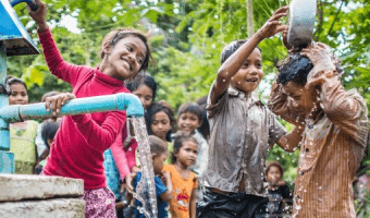 Kids with clean water