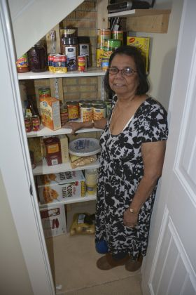 Meena Myles in food pantry
