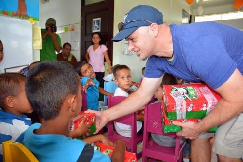 Canadian pastor distributes shoeboxes